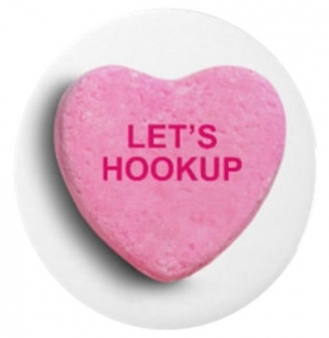 "Candy heart that says, ""let's hookup."""
